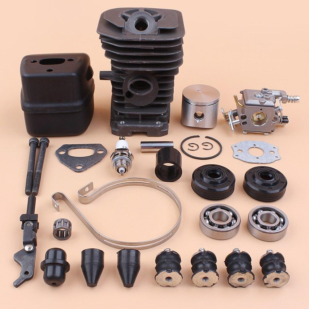 38mm Cylinder Muffler Carburetor Bearing Oil Seal Buffer Overhaul Set Fit HUSQVARNA 137 142 Chainsaw w/ Brake Band Gasket Bolt