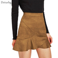 Deturbg Women S Elegant Suede Mini Skirt Female Casual High Waist Zipped Ruffles Black Flared Skirts