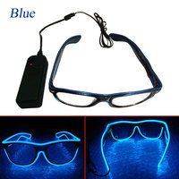 El Wire Fashion Neon LED Light Up Shutter Shaped Glowing Glasses Rave Costume Party DJ Bright