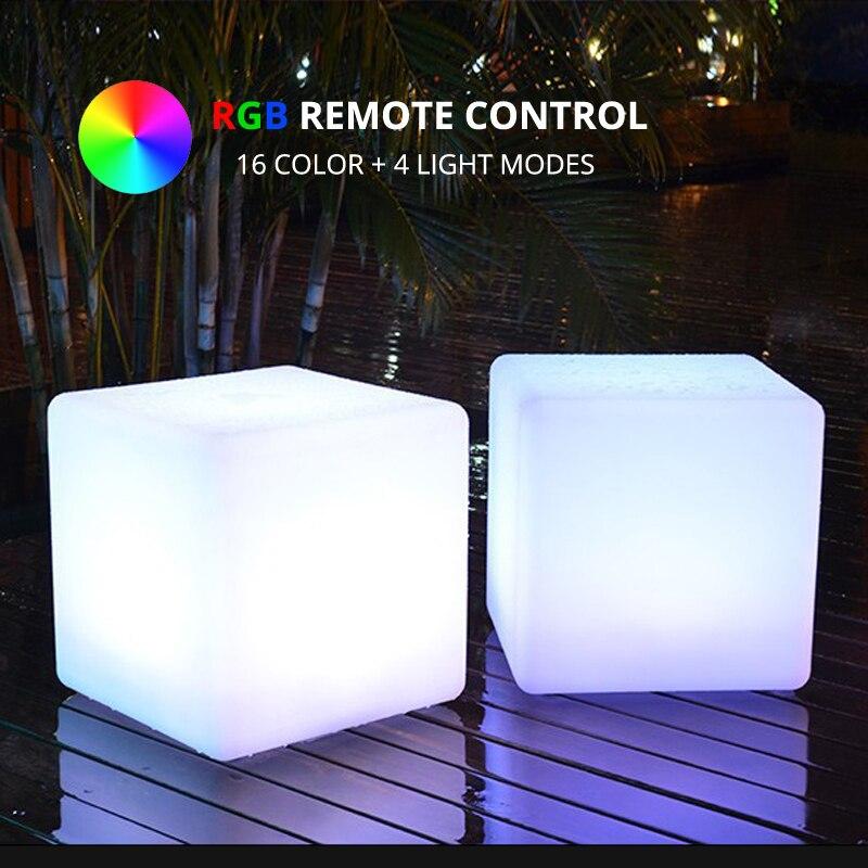 30x30x30 CM RGB LED Cube télécommande Rechargeable multicolore lumineux cubique lampe maison jardin événement nuit fête LED meubles