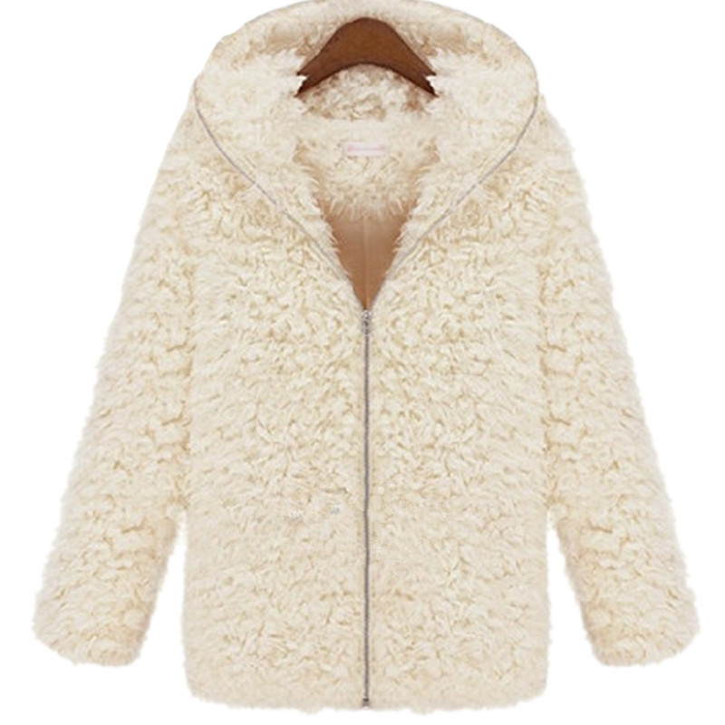 Elegant fur coat Plush hooded long coat Hair plush Imitation fur ...