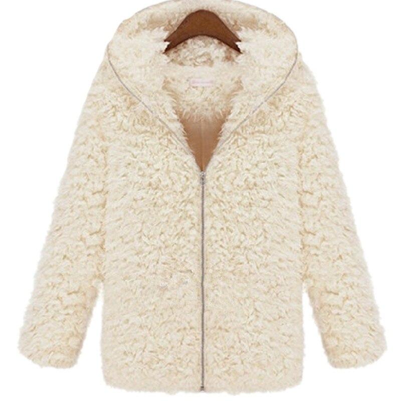 Elegant fur coat Plush hooded long coat Hair plush Imitation fur ...