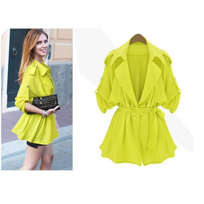 Uwback 2017 Brand Spring Trench Coat Women Fluorescent Yellow Sash Cloak  Femme Windbreaker Short Coats Mujer - Popular Yellow Trench Coats-Buy Cheap Yellow Trench Coats Lots
