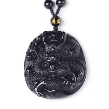 цена на Wholesale Black A Obsidian Antique Dragon Amulet Necklace Men Fine Jewelry Drop shipping Chinese Carving Obsidian Dragon Pendant