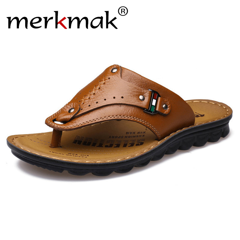 166341d7be5ec Merkmak Men Flip Flops Genuine Leather Slippers Summer Fashion Beach Sandals  Casual Leisure Shoes for Man Soft Comfortable-in Flip Flops from Shoes on  ...
