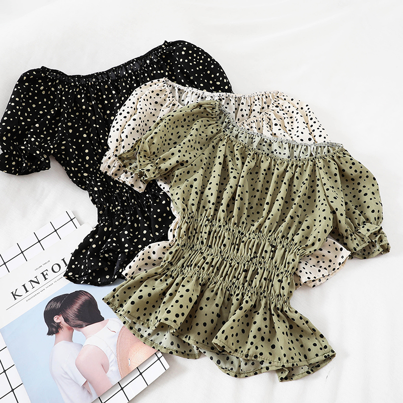 Women Slash neck Flare Sleeve Mesh Gauze Voile Shirt Casual Short Elastic Slim High Waist Polka Dot Chiffon Ruffles Blouse Tops 1