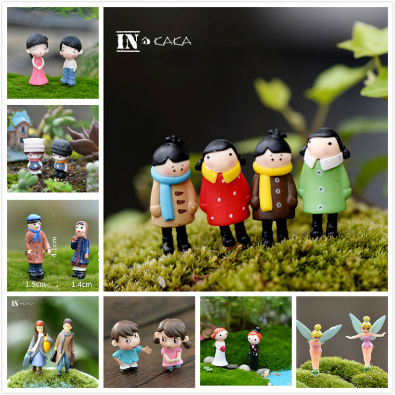 2pcs/set Mini Lovers Dolls Model Figures Micro Landscape Fairy Garden Gnomes Figurine Ornaments Decoration Miniature DIY