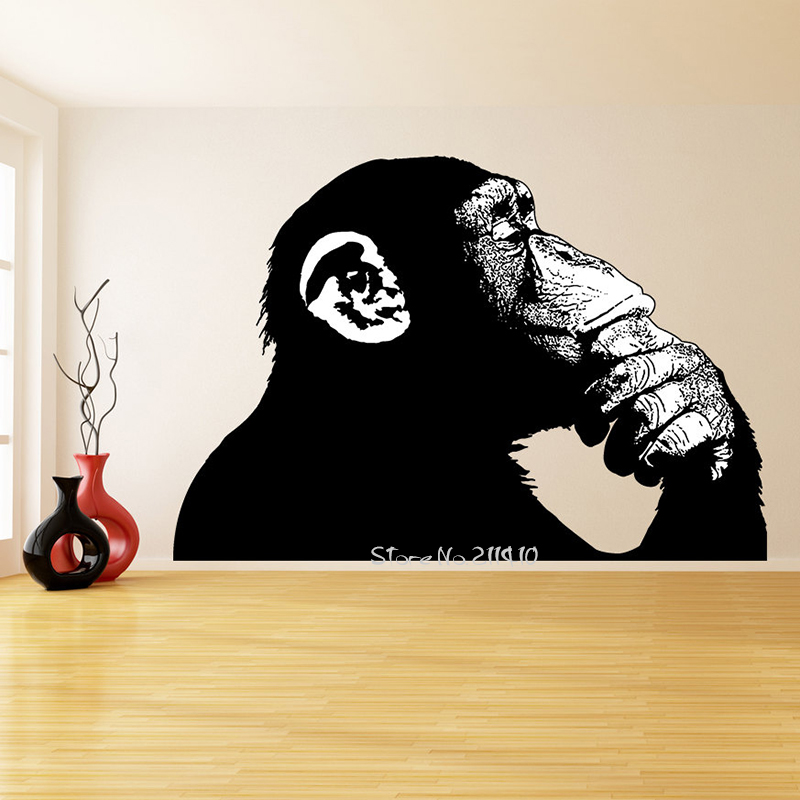 Large size black monkey thinking wall stickers removable vinyl wall decal realistic smart ape street art