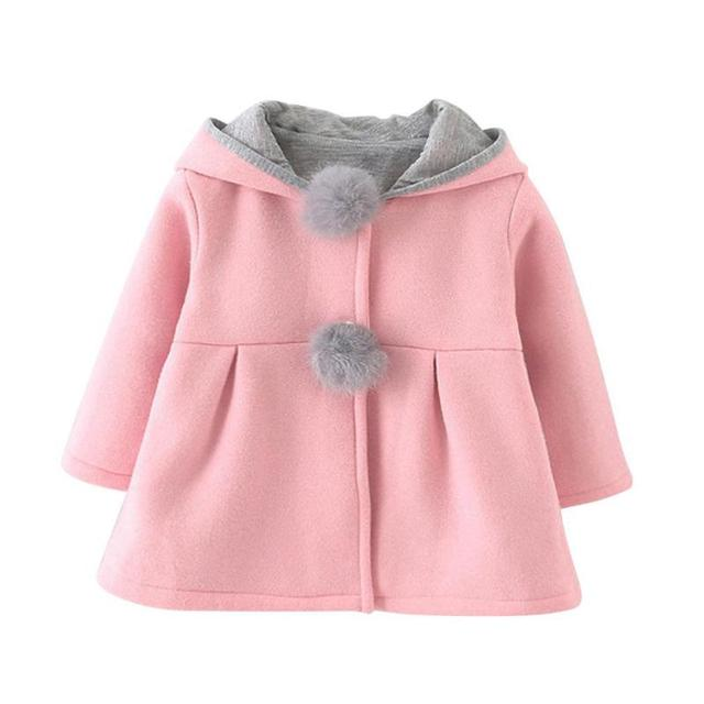 Winter Warm Kids Outerwear Rabbit Ear Baby Girl Hooded Coat Long Sleeve Pompon Jackets Solid Color Girls Outerwear Kids Clothes