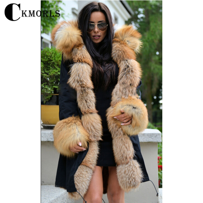 CKMORLS 2018 Nouveau Hiver Parka Vêtements Femmes Chaud Manteau Avec Col De Fourrure Casual Veste Épaisse Plus La Taille Naturelle Fourrure De Renard noir Parkas