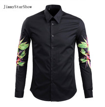 2017 New Cotton 100 % Dress Shirts High Quality Mens Casual Shirt Men Sleeves Sky Bird Print Plus Size Slim Fit Non-iron Shirts