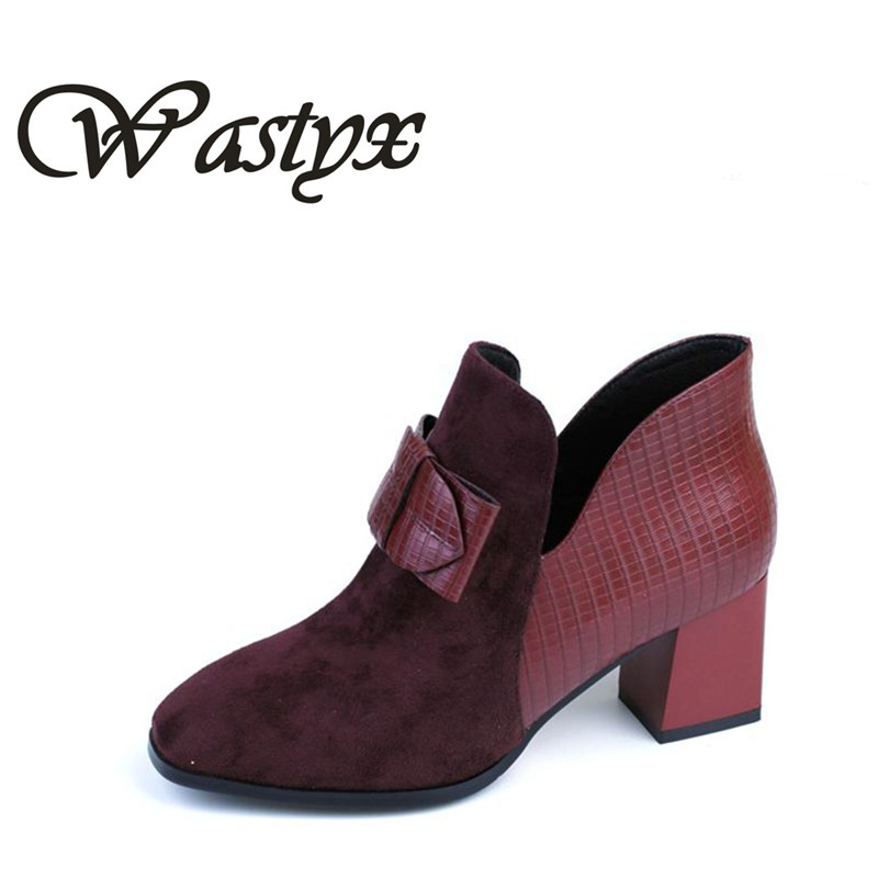 WASTYX 2017 fashion shoes woman casual flock ankle boots for women high heels womens ladies spring autumn heel footwear boots new 2017 spring summer women shoes pointed toe high quality brand fashion womens flats ladies plus size 41 sweet flock t179