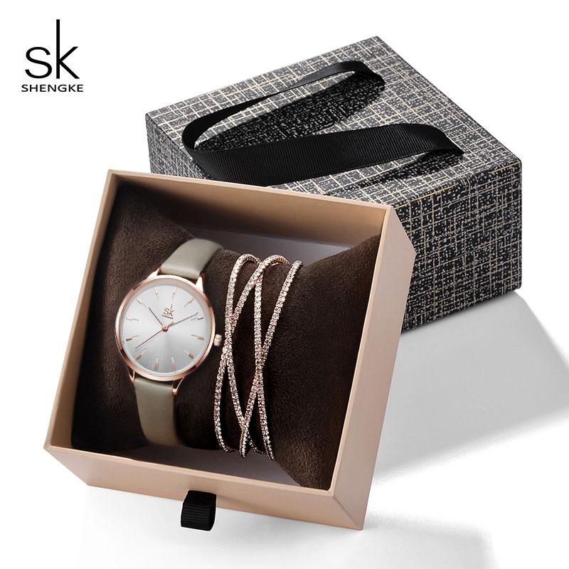 Shengke Creative Silver Quartz Watch Women Bracelet Set 2019 SK Ladies Watches Gift Jewelry Set Relogio Feminino Montre Femme