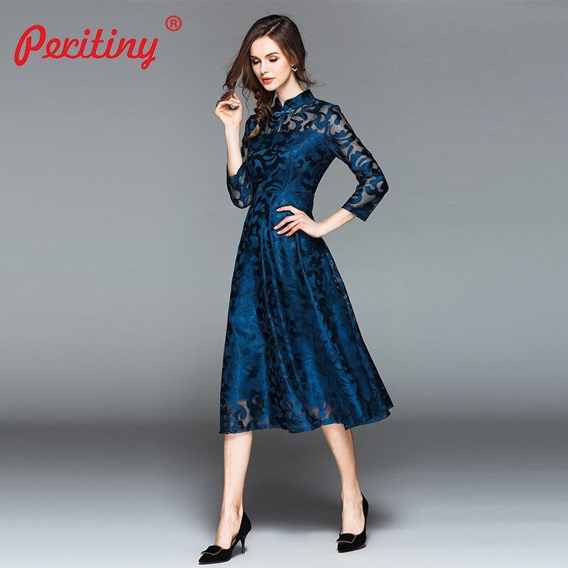 3b45805c46c Peritiny 2018 Autumn Winter Dress Women Blue Red Black Lace Desses Elegant  Tunik Abiye Gece Elbisesi