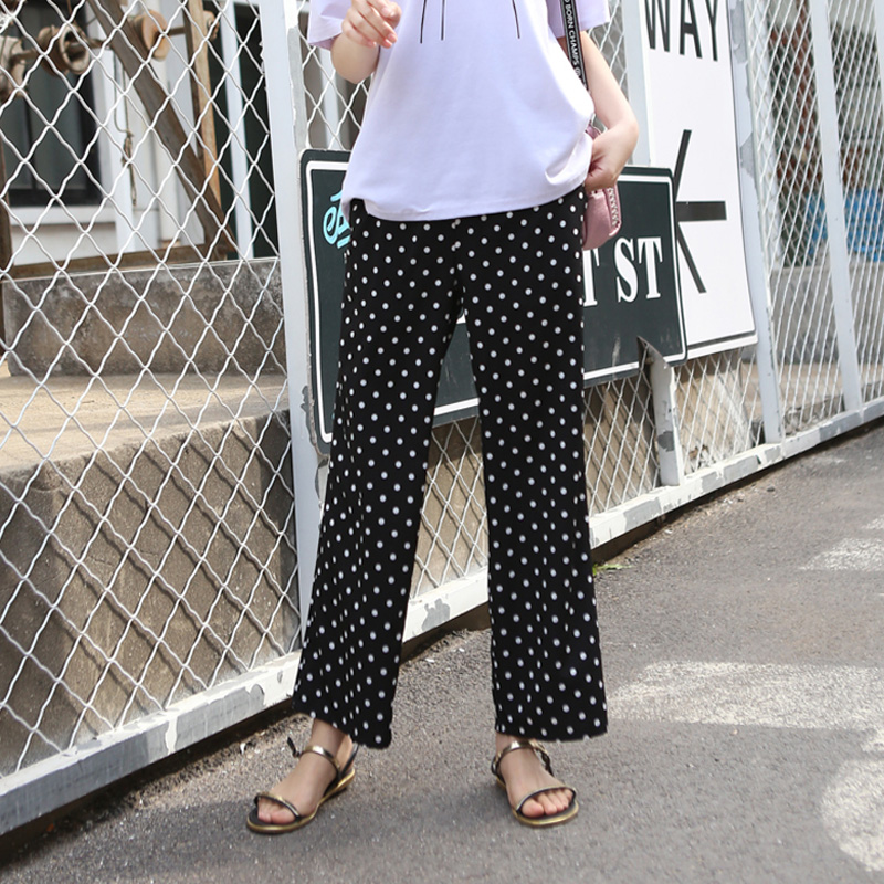 2020 Summer Maternity Polka Dot Capris Pregnant Pant Cool Fabric Pregnancy Bottom Trousers Plus Size Clothing