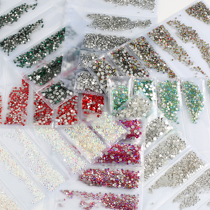 Multi-size Glass Nail Rhinestones For Nails Art Decorations Crystals Strass Charms Partition Mixed Size Rhinestone Set title=