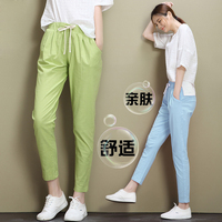 2017 Summer Style Women's Long Loose Casual Leggings Linen and Cotton Mid Wasit Lace Up Trousers Pencil Pants For Women LG55