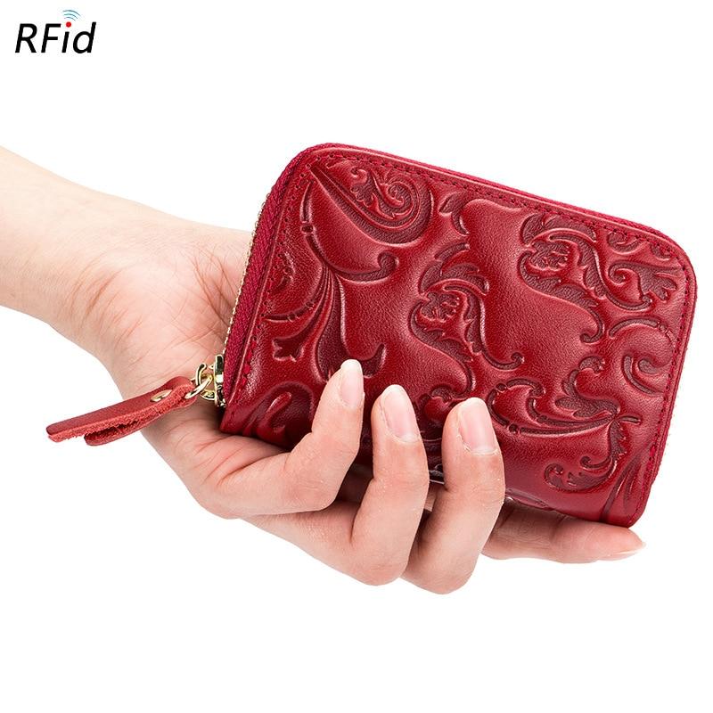 Westcreek Brand Genuine Leather Female RFID Organ Credit Card Holder Floral Embossing Women Zipper Travel Wallet Coin Purse