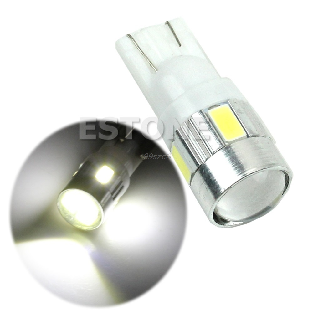 1Pc High power LED SMD T10-5630-6LED 194 W5W White with Projector Car light Source image