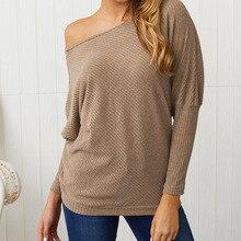 2019 autumn womens sweater large size sexy strapless bat sleeve knit