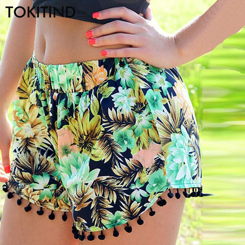 TOKITIND 2020 Summer Floral Pom Pom Ball Shorts Women Beach Tassel National Wind Print Loose Women's Short Feminino Plus Size XL