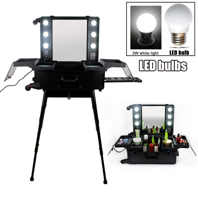 Fashionable Aluminum Makeup Studio With Lights Mirror Trolley Stands Rolling Cosmetic Case