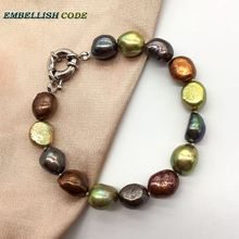 NEW classic Hong Kong color Peacock coffee yellow wonderful small baroque pearls real freshwater pearl bracelet for girl women недорого