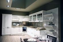 PVC/vinyl kitchen cabinet(LH-PV083) solid wood curved shape kitchen cabinet lh sw089