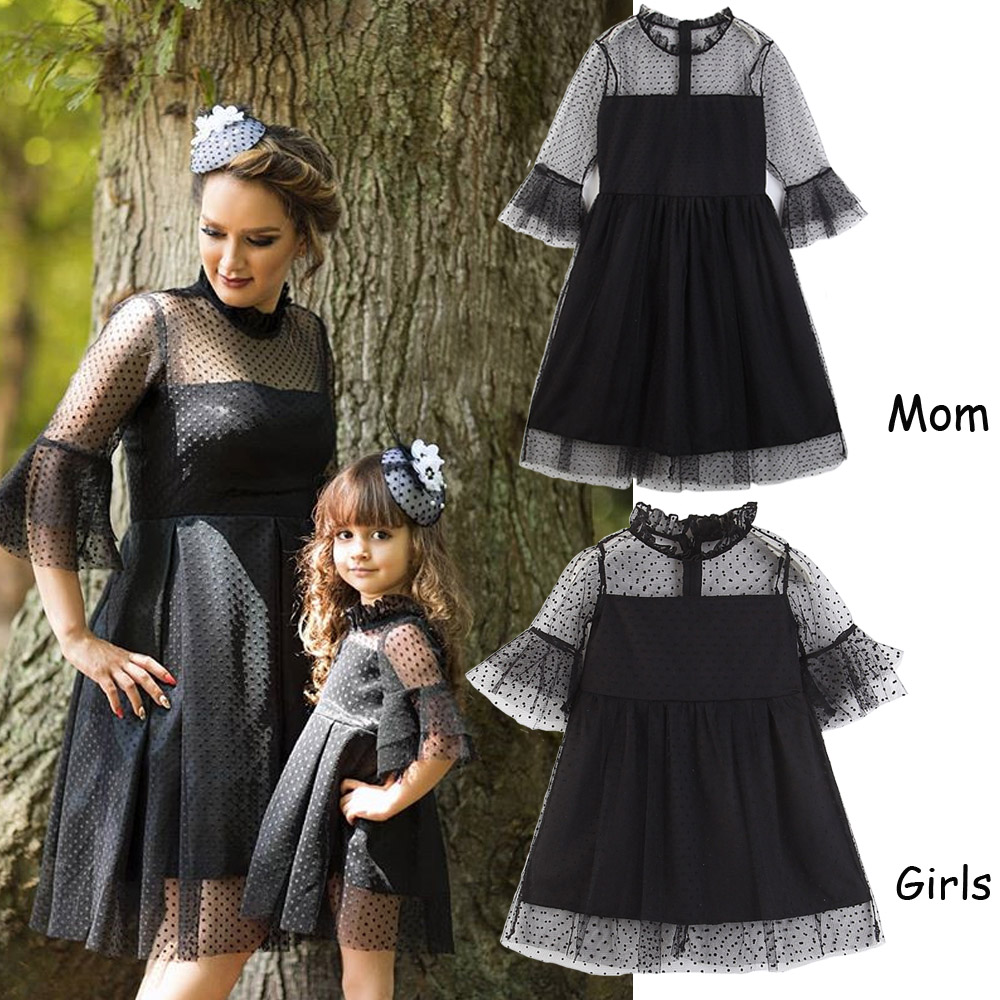 Family Matching Daughter-Dresses Parent Child Mommy Outfits Girls Kids And Me Black Lace