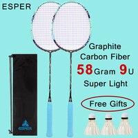 58Gram Badminton Racket set of 2 Lightweight Graphite Carbon Fiber Badminton Racquet for Professional with String Shuttlecocks