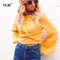 VGH Criss Cross Female T Shirt 2018 Spring New Batwing Sleeve O Neck Solid Colour Short