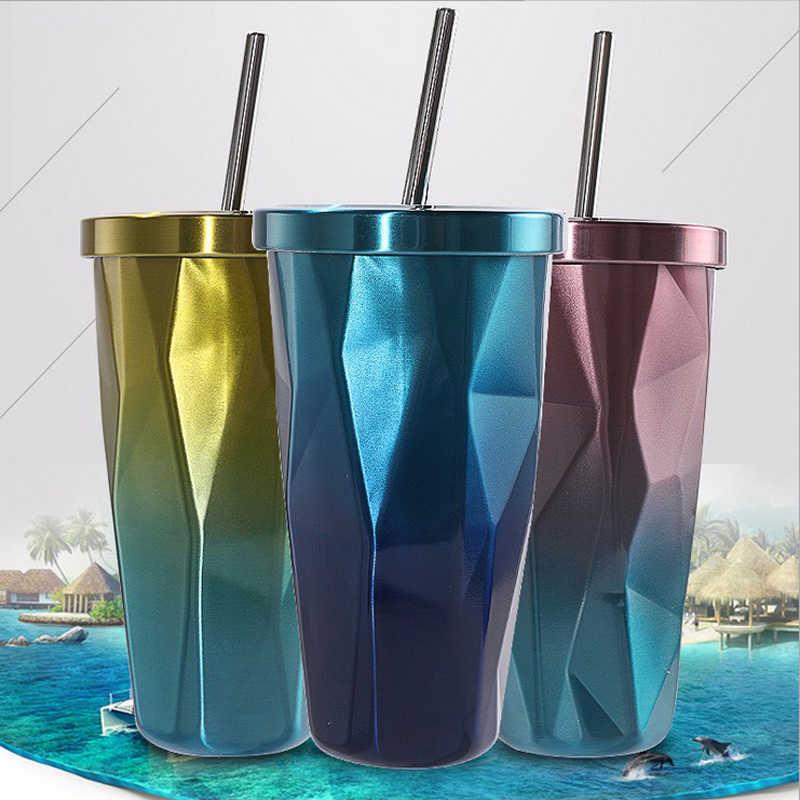 Бесплатная пользовательские мисс лайков распродажа кофейного цвета чашка 500 мл Творческий алмаз соломенная чашка для питьевой воды из нержавеющей стали вакуумная колба офис