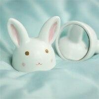 JINGDEZHEN Originality Handmade Lovely Pink Rabbit Desktop Small Ceramics Mirror Gift Dropshipping Wholesale