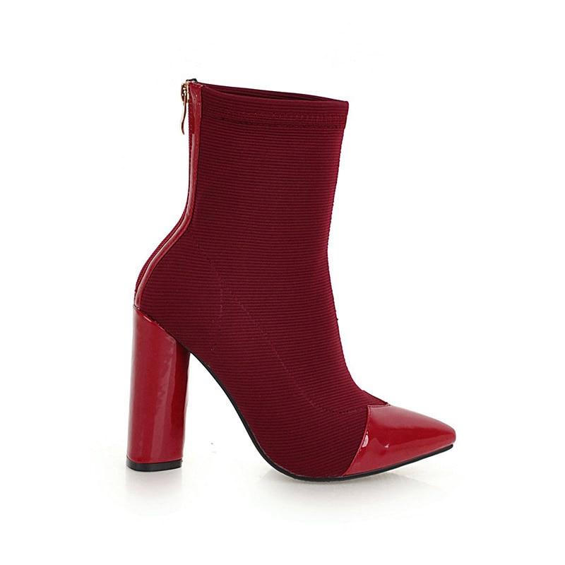 caviglia nero stivali 46 rosso 33 nero parte femminile donna Pu nero tacchi scarpe stivale inverno alti rosso punta Plus nero Wetkiss a 2018 rosso scarpe Zip rosso Size WXqncAqR