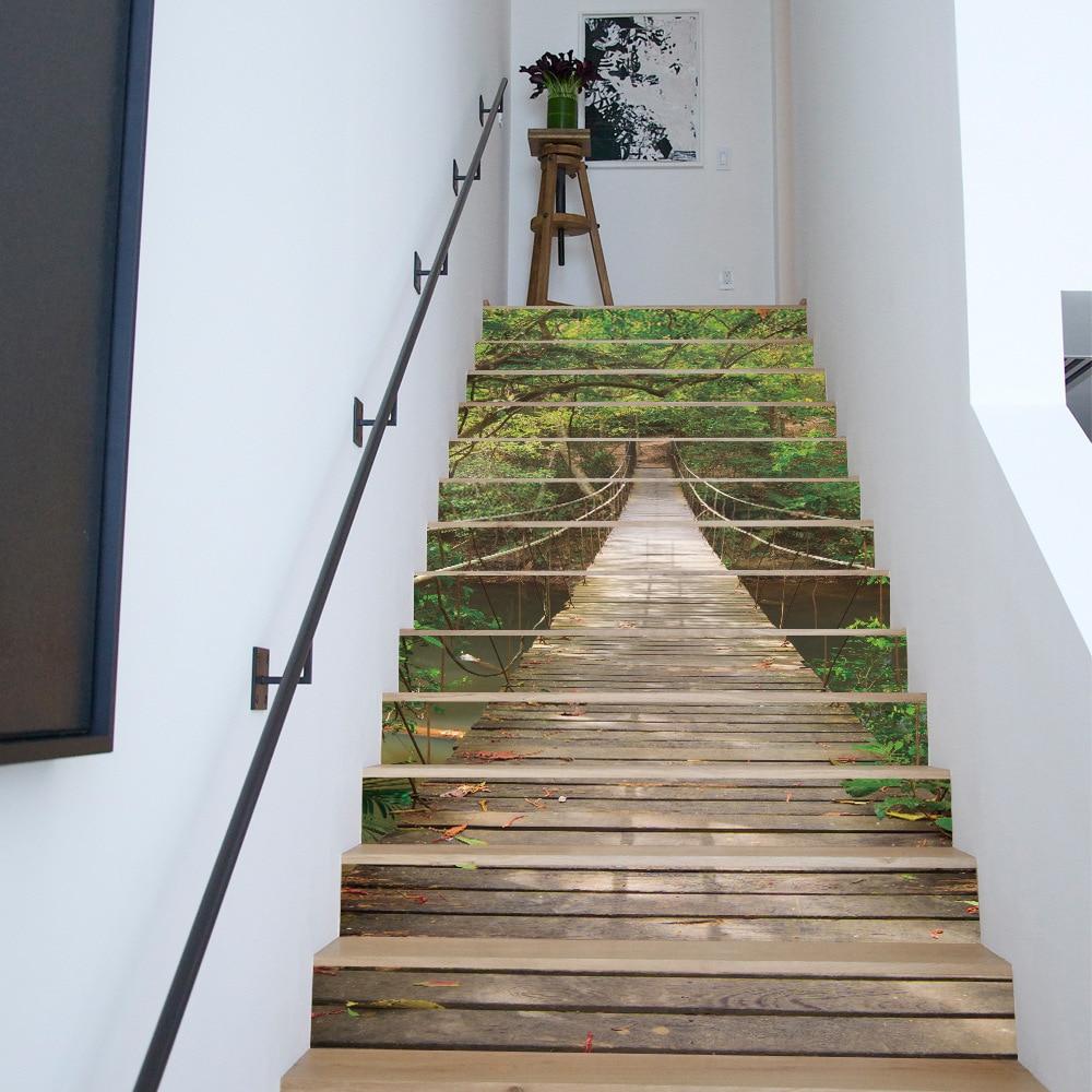 13 PC paysage forêt Suspension pont escaliers autocollant créatif décoration de la maison Stickers muraux papier peint autocollants étanche
