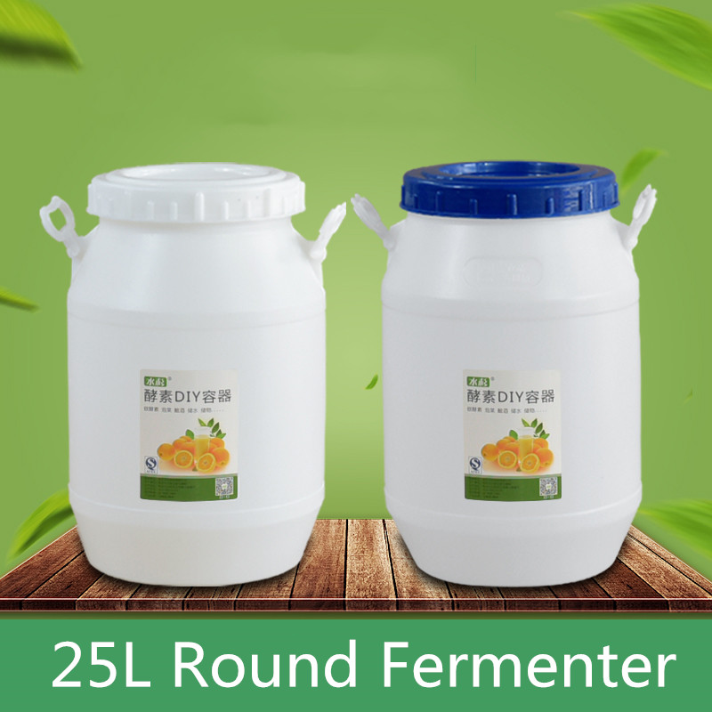 25L White Round Fermenter Food Grade Thicken Plastic Fermentation Container Fruit Beer Brewing Barrel For Home Restaurant