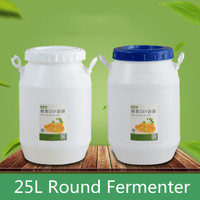 25L white Round Fermenter Food Grade Thicken plastic fermenter container Fruit Beer Brewing Barrel for Home Restaurant