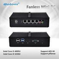 2018 новый 4 LAN Core I5 5200U безвентиляторный Micro PC дома routerSupport pfsense, linux, брандмауэр и т. д. QOTOM Q355G4