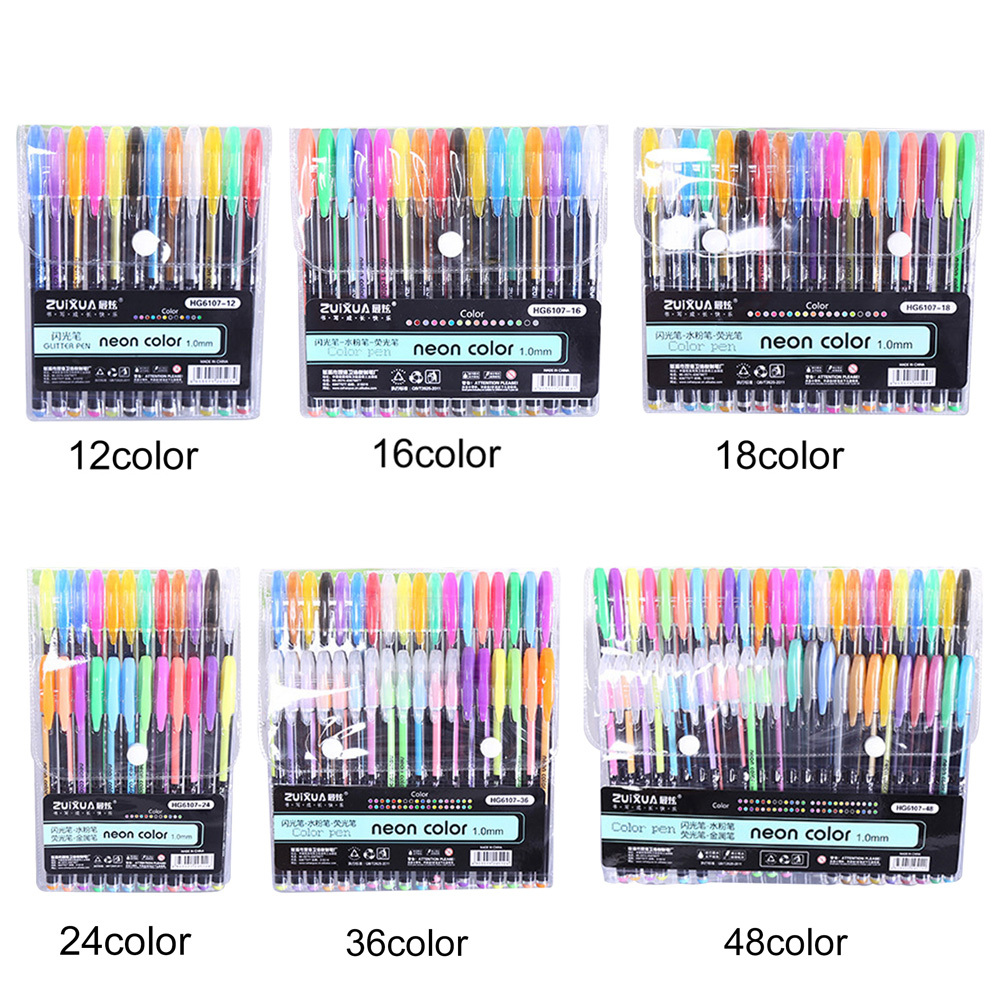12/16/18/36/48 Colors 15cm Plastic Colour Pencil Comic Pen Crayons Drawing Artist Writing Tool Color Marker Set Highlighter