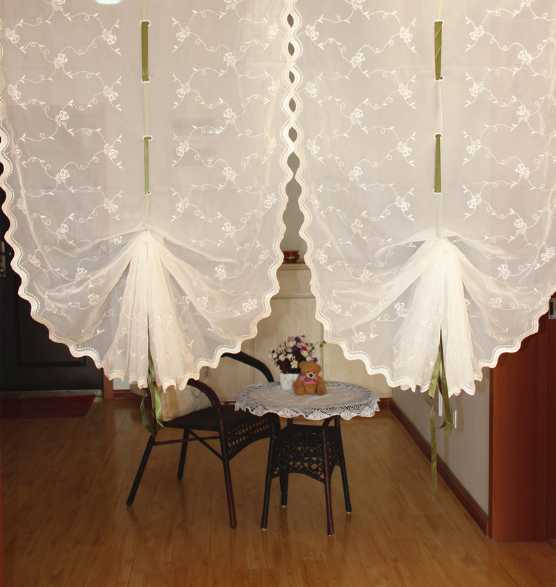Embroidered White Balloon Curtain For Living Room Finished Pull Up Curtain  Kitchen Curtain Decorative