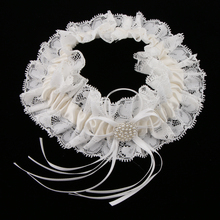 Wedding Bridal Lace Pearls Garter Belt Garters for Women Bowknot Trim Hen Night Party Dress