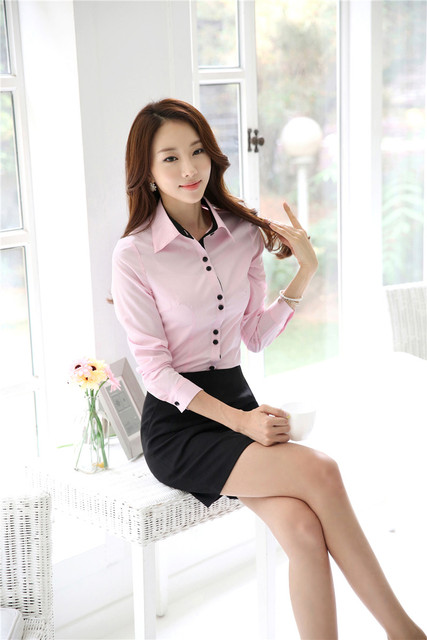 Novelty Pink 2015 Spring Autumn Formal Uniform Style Slim Fashion Professional Business Suits Tops And Skirt Ladies Outfits Set