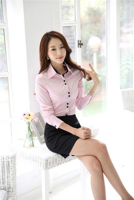 Novidade Rosa 2015 Primavera Outono Formais Uniforme Estilo Fino Moda Professional Business Suits Tops E Saia Senhoras Outfits Set