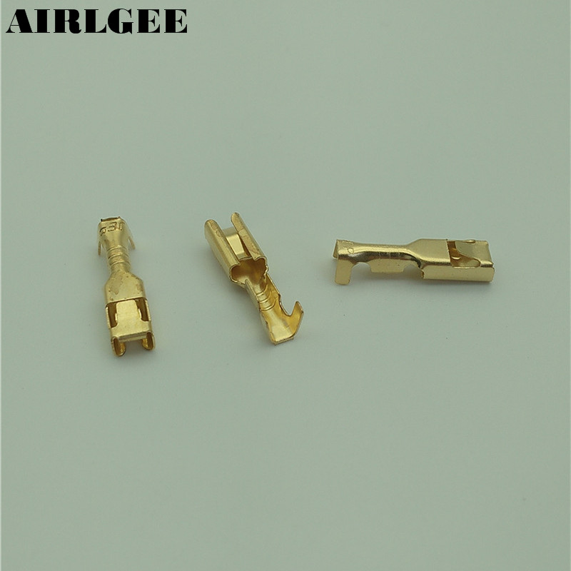100 Pcs Gold Tone 3mm Wide Female Spade Crimp Terminal Connectors Free shipping atlas mavros wired 4x4 7 0m transpose spade gold