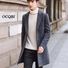 954cbdd9763ec Plus Size 5XL 2018 Slim Korean Style Wool Mens Coats Overcoats Fashion  Winter Dress Coat Mens
