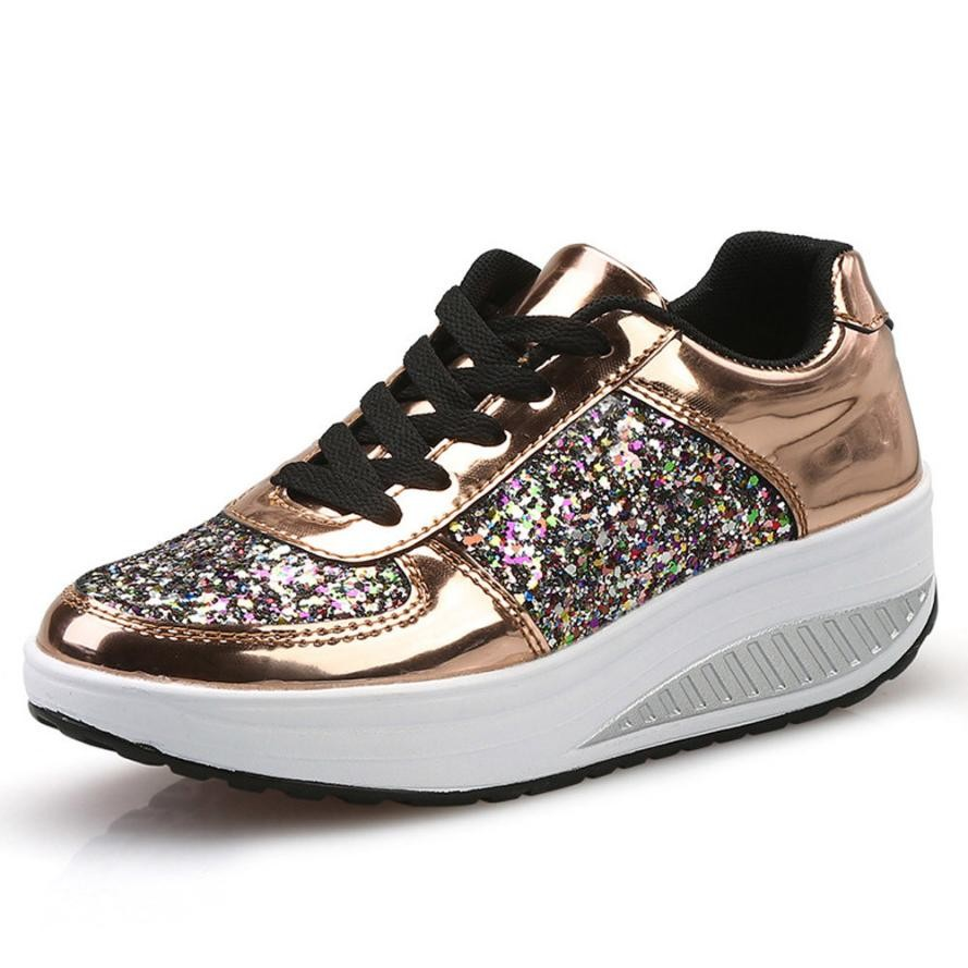Women Platform Shoes Wedge Sneaker Lace Up Bling Ladies Shoes Silver Gold  White Sequins Wedge Sneaker Zapatos Mujer Dropshipping-in Women s Vulcanize  Shoes ...
