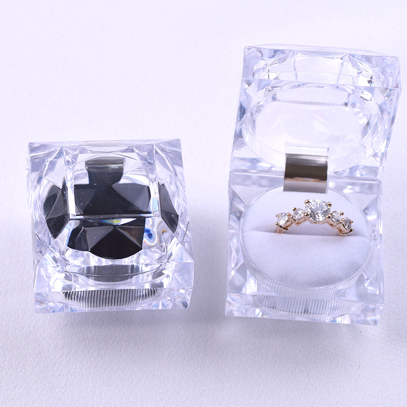 Clear Acrylic Crystal Ring Earrings Display Boxes Storage Organizer