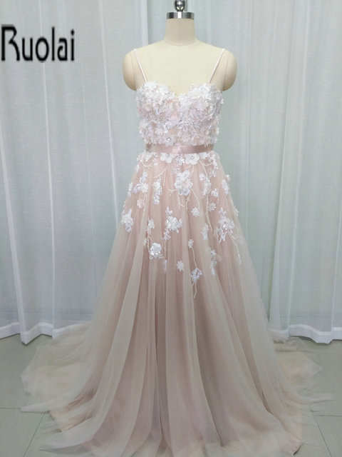 2017 Pink Tulle Evening Dresses Spaghetti Strap Beading Flowers ...