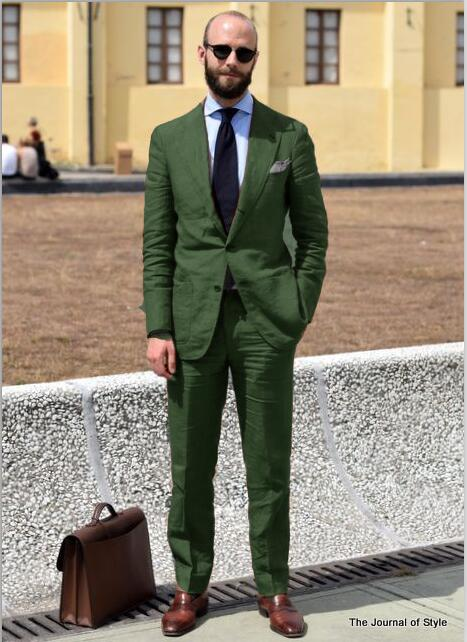<font><b>2018</b></font> Tailed Made New Green Linen <font><b>Men</b></font> <font><b>Suit</b></font> Slim Fit Brand Blazer Summer Beach <font><b>Wedding</b></font> Style Custom Prom Jacket+Pant 2 Piece <font><b>Terno</b></font> image