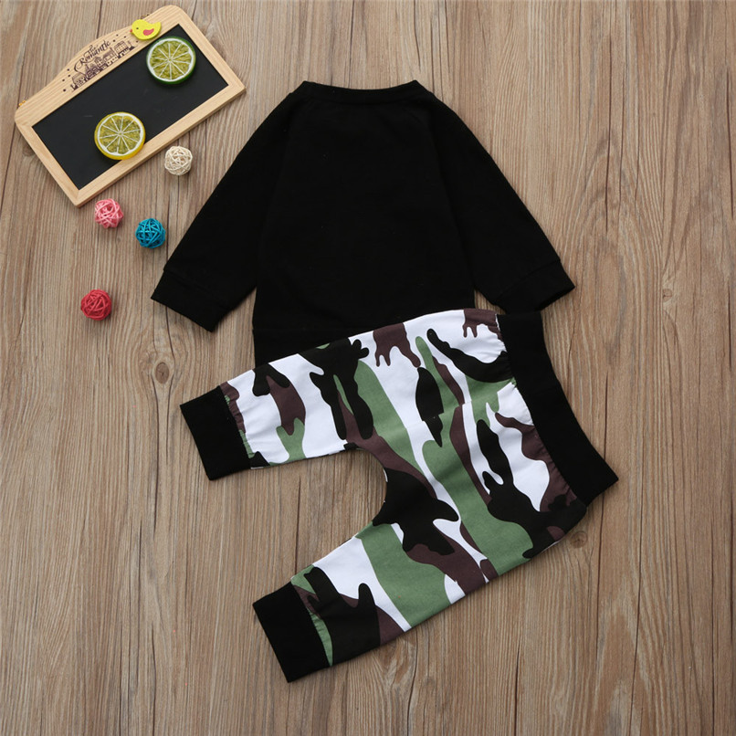 Winter 2PCS Kids Clothes Boys Toddler Kids Baby Boys Long Sleeve Letter Print Tops+Camouflage Pants Set Clothes Kids Sets JY12#F (7)